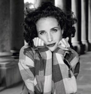 Andie MacDowell Plaid Sleeves