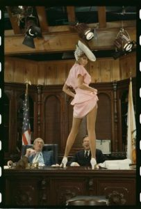Raquel Welch on a Table in Pink
