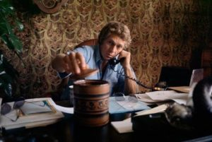 Steve McQueen Dark Office Phone Call
