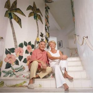 Bob Monkhouse with his wife Jacqueline Harding