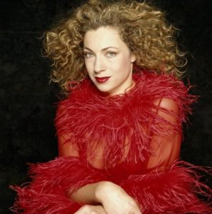 Alex Kingston Red Frill Dress